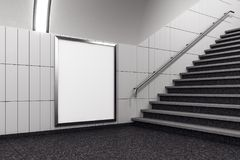 Modern metro with empty banner. And stairs. Mock up, 3D Rendering Royalty Free Stock Photography