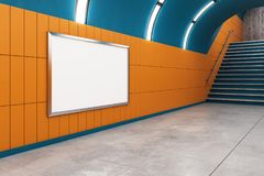 Modern metro with empty billboard. And stairs. Mock up, 3D Rendering Stock Photos