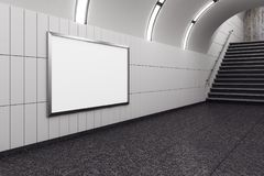 Modern metro with empty poster. And stairs. Mock up, 3D Rendering Stock Image