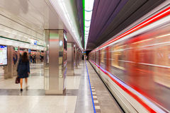 Modern metro station in Prague. Royalty Free Stock Photography