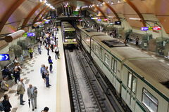Modern metro station Sofia Bulgaria. People waiting and two trains approaching Serdica metro station,Sofia city Bulgaria.The Sofia Metropolitan is the rapid Royalty Free Stock Image