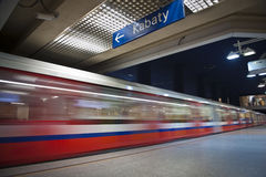 Modern metro underground. Station with moving train, Warsaw in Poland royalty free stock image