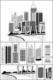 Modern metropolis. City skyscrapers skyline, illustration with an individual buildings Royalty Free Stock Photo