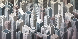 Modern metropolis. Modern metropolitan city with tall isometric skyscrapers, aerial view Stock Images