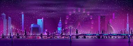 Modern metropolis night landscape cartoon vector royalty free illustration