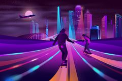 City extreme sports neon cartoon vector concept. Modern metropolis nightlife neon color cartoon vector. Young men, teenager skateboarders riding skateboards on royalty free illustration
