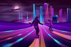 City extreme sports neon cartoon vector concept