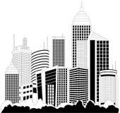 Modern metropolis skyscrapers. Modern metropolis city skyscrapers skyline with reflection Stock Photos