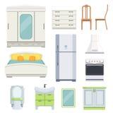 Modern meubilair voor slaapkamer, keuken en woonkamer stock illustratie
