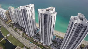 Modern Miami architecture. Aerial video of Miami Architecture stock video footage