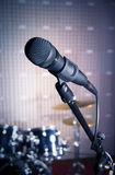 Modern microphone in the recording studio Stock Photos