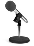 Modern microphone on white. Modern microphone on stand with white background Royalty Free Stock Photos