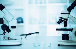 Modern microscopes in a lab . Royalty Free Stock Photos