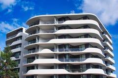Modern MId Rise Apartment Building, Sydney, Australia. A modern mid-rise apartment building with extensive white balconies, suburban Sydney, NSW, Australia royalty free stock photography