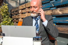 Modern middle-aged man outdoor Royalty Free Stock Images
