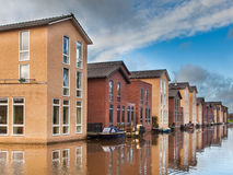 Modern Middle Class Houses along a Canal Royalty Free Stock Photo