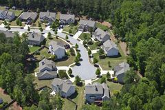 Modern Middle Class Suburbia Aerial Eastern USA. Modern comfortable middle class neighborhood aerial in the southeastern USA Royalty Free Stock Photo