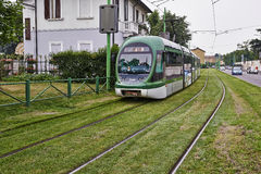Modern Milan blue Cable Car Royalty Free Stock Photo
