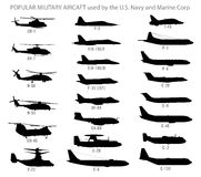Free Modern Military Aircraft Silhouettes Royalty Free Stock Photo - 53339405