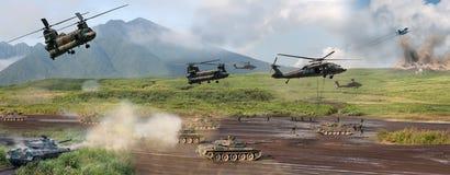 Modern military battle scene Stock Photo