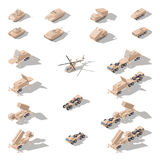 Modern military equipment in desert camouflage isometric icon set. Vector graphic Royalty Free Stock Photo