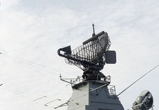 Modern, military ship radar. Royalty Free Stock Image