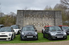 Modern MINI cars at the 2017 Brooklands mini day event. Royalty Free Stock Images