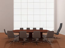 Modern, minimal boardroom. High quality illustration of a large modern boardroom, or meeting room with large window Royalty Free Stock Photos
