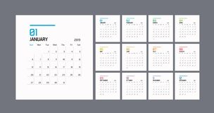 Modern minimal Calendar Planner Template for 2019. Vector design editable template. Eps10 vector illustration