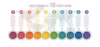 Diagram info graphics. Vector template 10 positions Royalty Free Stock Image