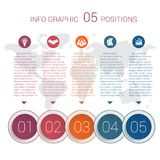 Diagram info graphics. Vector template 5 positions Royalty Free Stock Photo