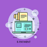 Modern minimal flat thin line e-payment concept vector illustration. Modern thin line design concept for e-payment. Vector illustration with laptop and voucher Royalty Free Stock Image