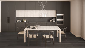Modern minimal gray kitchen with wooden floor, classic interior Royalty Free Stock Images
