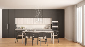 Modern minimal gray kitchen with wooden floor, classic interior Royalty Free Stock Photos