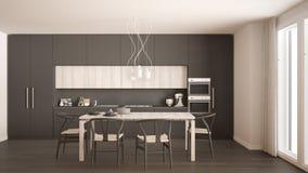 Modern minimal gray kitchen with wooden floor, classic interior Stock Photo