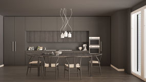 Modern minimal gray kitchen with wooden floor, classic interior. Design Royalty Free Stock Images