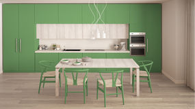 Modern minimal green kitchen with wooden floor, classic interior Stock Images