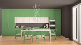 Modern minimal green kitchen with wooden floor, classic interior. Design Stock Photos