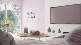 Modern minimal living room with beautiful view 3D illustration royalty free illustration