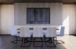 Modern and minimal meeting room interior. 3D rendering Stock Images