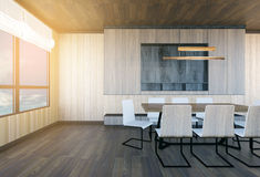 Modern and minimal meeting room interior. 3D rendering Royalty Free Stock Photo