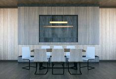 Modern and minimal meeting room interior. 3D rendering Royalty Free Stock Photos