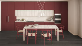 Modern minimal red kitchen with wooden floor, classic interior d Stock Images