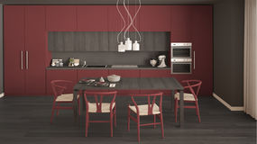 Modern minimal red kitchen with wooden floor, classic interior d Royalty Free Stock Photography