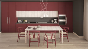 Modern minimal red kitchen with wooden floor, classic interior d Royalty Free Stock Photos