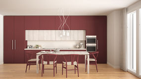 Modern minimal red kitchen with wooden floor, classic interior d Stock Photography
