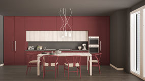 Modern minimal red kitchen with wooden floor, classic interior d Royalty Free Stock Image