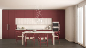 Modern minimal red kitchen with wooden floor, classic interior d Stock Photos
