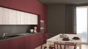 Modern minimal red kitchen with wooden floor, classic interior d Royalty Free Stock Images