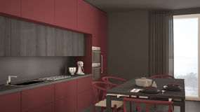 Modern minimal red kitchen with wooden floor, classic interior d. Esign Royalty Free Stock Photos